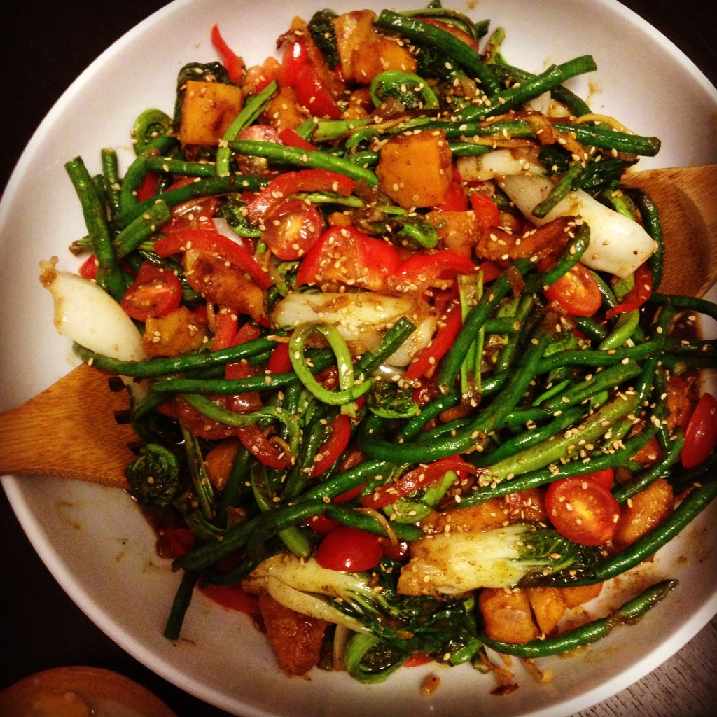 Fil-Am Vegetable Stir-fry - Seasonal fiddleheads, kalabasa, sitaw, red peppers, tomatoes, bok choy in a tamarind sesame glaze